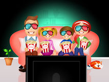First-run movies. Illustration of family watching television at home Royalty Free Stock Photography