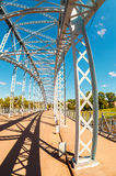 First in Russia steel arch bridge on river Msta. Was build in 19 Royalty Free Stock Photo