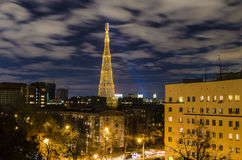 First Russian TV tower night with beautiful lighting Royalty Free Stock Images