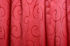 First scene. Red textile background - stage curtain Stock Photo