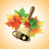 First school call bell. First school call bell with colorful maple leaves Royalty Free Stock Photography