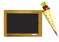 First school day. Blackboard and a present for first School day Royalty Free Stock Image