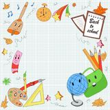 Modern, cute, hand drawn school items in cartoon style. First school day, school items: globe, pencils, pen, brushes, paint, leaves, school bag, cute stars Stock Images