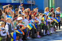 First school day in Kiev, Ukraine Royalty Free Stock Photo