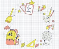 Modern, school text frame, hand-drawn in cartoon style. First school day, school items: globe, pencils, pen, brushes, paint, leaves, school bag, cute stars Stock Photo