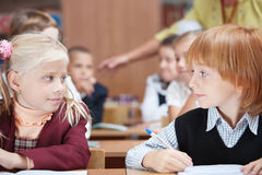 First School love. In Elementary school. Focus on Girl stock images