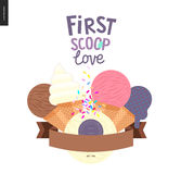 First scoop love. Vector flat cartoon illustrated composition of lilac, violet, pink fruit and yellow scoops of ice cream topped by colorful sprinkles, flat Royalty Free Stock Images