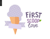 First scoop love. The vector flat cartoon illustration of lilac, light violet or bilberry scoop of ice cream in a waffle cup with a flat stilized ribbon and a Stock Photos