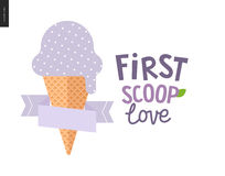 First scoop love. The vector flat cartoon illustration of lilac, light violet or bilberry scoop of ice cream in a waffle cup with a flat stilized ribbon and a Stock Photography