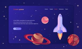 First screen space exploration template with a spaceship and planets. In outer space for web and printing stock illustration