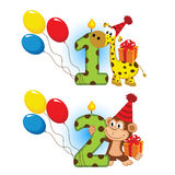 First second birthday with animal. Vector illustration, eps vector illustration
