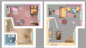 First and second floor interior top view. Vector illustration Stock Photo