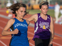 First and Second. Runners come in first and second  in a track and field event in Cottonwood, California Stock Photo