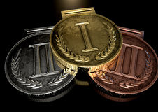 First Second And Third Medals Stock Images