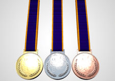 First Second And Third Medals Stock Photos