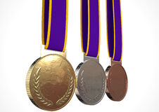 First Second And Third Medals. A set of blank gold, silver and bronze medals with ribbons on an isolated white studio background Stock Photos