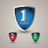 First, second and third place. Vector shields Royalty Free Stock Photo