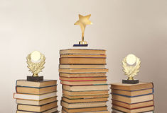First second and third place. Awards for science and education in the form of figurines with a place for an inscription Stock Image