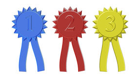 First second and third place award ribbons Royalty Free Stock Photos