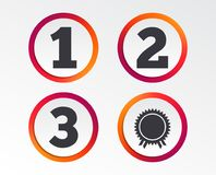 First, second and third place icons. Award medal. First, second and third place icons. Award medal sign symbol. Infographic design buttons. Circle templates Royalty Free Stock Photos