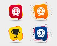 First, second and third place icons. Award medal. First, second and third place icons. Award medals sign symbols. Prize cup for winner. Speech bubbles or chat Stock Photos
