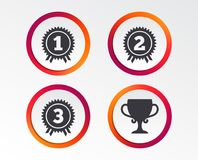 First, second and third place icons. Award medal. First, second and third place icons. Award medals sign symbols. Prize cup for winner. Infographic design Royalty Free Stock Photos