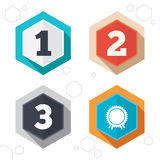 First, second and third place icons. Award medal. Hexagon buttons. First, second and third place icons. Award medal sign symbol. Labels with shadow. Vector Stock Images