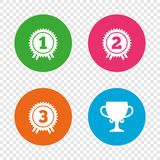 First, second and third place icons. Award medal. First, second and third place icons. Award medals sign symbols. Prize cup for winner. Round buttons on Royalty Free Stock Images