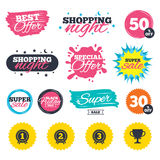 First, second and third place icons. Award medal. Sale shopping banners. Special offer splash. First, second and third place icons. Award medals sign symbols Royalty Free Stock Images
