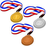 First Second and Third Place Medals Pack. A vector illustration of gold silver and bronze place Olympic medals Royalty Free Stock Photography