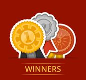 First, second and third place medals with ribbons. Championship awards ceremony banner, grand trophy vector illustration. Sport competition event, favorite Stock Photography