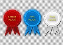 First, second, third place ribbons Royalty Free Stock Images