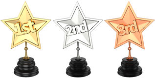 First second and third place trophies Royalty Free Stock Photos
