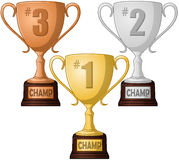 First Second and Third Place Trophy Pack. A vector illustration of gold silver and bronze place trophies Royalty Free Stock Photo