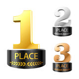 First, second and third places. Vector illustration of awards for first, second and third places vector illustration