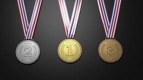 First,second and third places medals. On black background.3D rendering Royalty Free Stock Photos