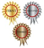 First Second Third Rosette. A set of three competition rosettes over a white background Stock Images