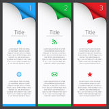 First, second and third vector infographic elements. With title, description and icons royalty free illustration