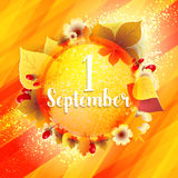 First September Autumn Background. 1 September Autumn Background. Bright autumn birch, oak, maple, chestnut leaves and berry with flowers light background Royalty Free Stock Images