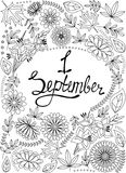 First September background black and white. Vector First September background black and white Royalty Free Stock Images