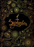 First September background golden with tinsels stock illustration