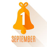 First September Background. With orange school bell Stock Photography
