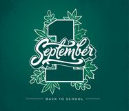 1 first september brush lettering on green chalkboard background. Vector illustration with autumn leaves and Back to Royalty Free Stock Image