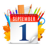 First September Calendar. Education symbols behind calendar with first September date Royalty Free Stock Image