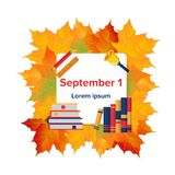 First September flat banner. With autumn leaves piles of books and school supplies symbols vector illustration. Back to school concept frame for greeting card Royalty Free Stock Photo