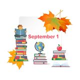 First September flat poster. With autumn leaves piles of books with globe apple and boy reading something vector illustration. Back to school concept frame for Stock Photos