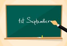 First September School Board Education Hand Draw. Chalk Vector Illustration Stock Image