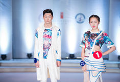 The first series of Shang Gu-Fashion Show. On the afternoon of March 20, the third session of the Red Square World Chinese clothing design competition finals at Royalty Free Stock Photo