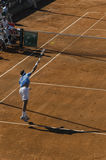 First serve of Juan Martin Del Potro during a practice day Royalty Free Stock Photos