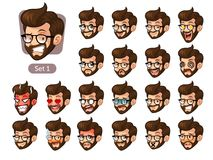The first set of bearded hipster facial emotions with glasses. The first set of bearded hipster facial emotions cartoon character design with glasses and Stock Photo